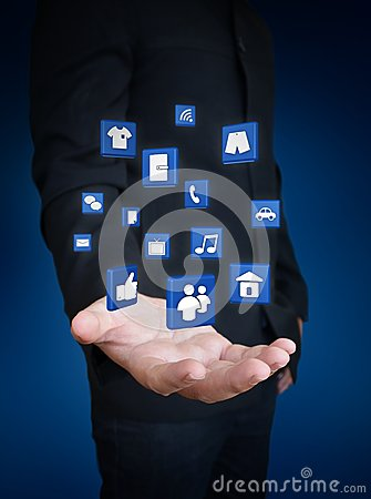 Hand holding social media icon
