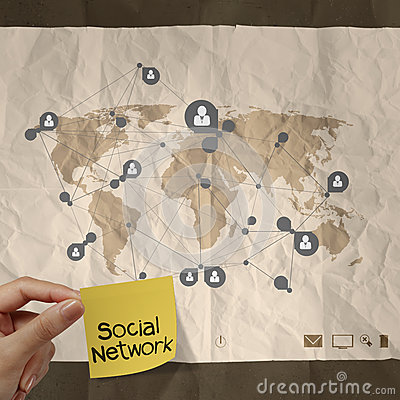 Hand holding sticky note social network