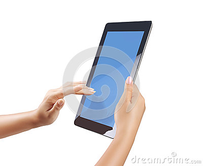 Hand holding tablet