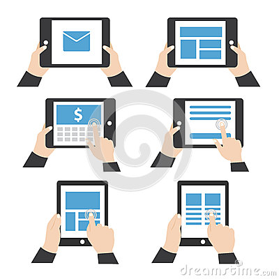 Hand holding tablet vector Vector Illustration