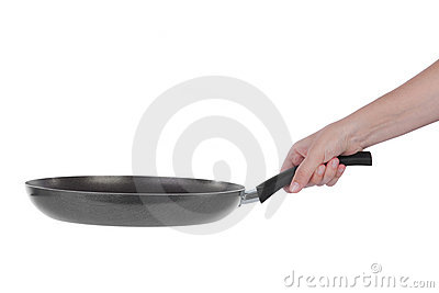 Hand holding a Teflon frying pan