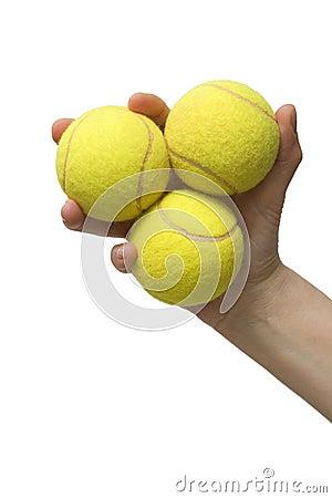 Free Hand Holding Three Tennis Balls Royalty Free Stock Photos - 15123488
