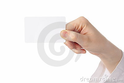 Hand holding ticket on white