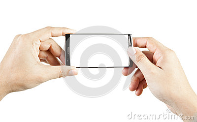 Hand holding and touch smart phone
