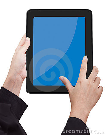 Hand holding Touchpad PC (Tablet PC)