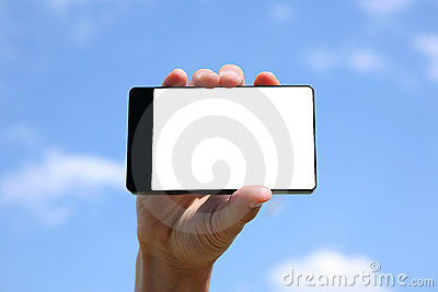 Hand holding touchscreen smart phone