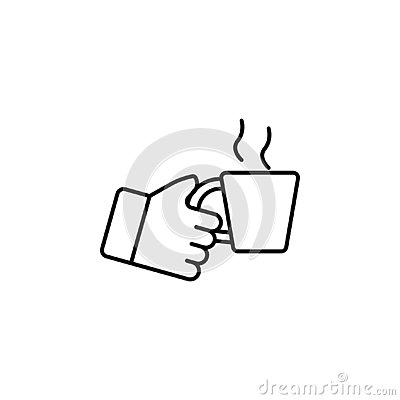 Hand holding up cup outline icon. Element of simple icon for websites, web design, mobile app, info graphics. Signs and symbols co Stock Photo