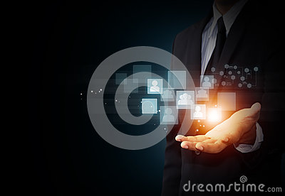 Hand holding virtual icon of social media