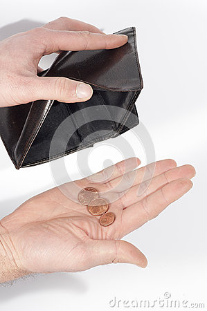 Hand holding a wallet almost empty, with a few coins,  on white
