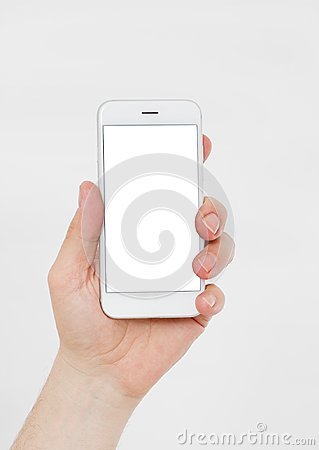 Free Hand Holding White Cellphone Isolated On White Clipping Path Inside. Online Shopping. Top View. Mock Up. Copy Space. Template.Blan Stock Image - 122100451