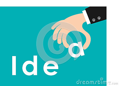 Hand holding the word idea isolated on background, Flat style illustration. Stock Photo