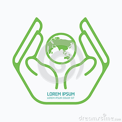 Hand Holding World.logo Design,safety Care Concept. Stock ...