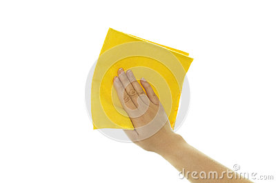 Hand holding a yellow cleaning