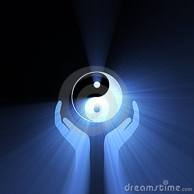 Free Hand Holding Yin Yang Sign Light Flare Royalty Free Stock Photo - 11151435