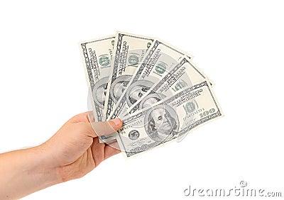 Hand holds american Dollar-bills