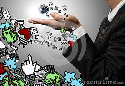 Hand holds  computer icons