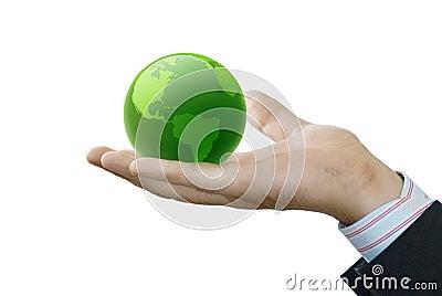 Hand holds globe