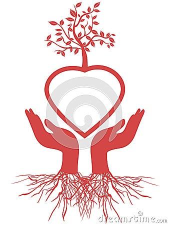 Hand holds heart tree