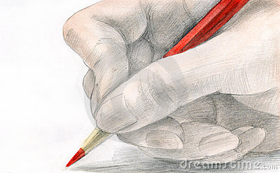 The hand holds a pencil