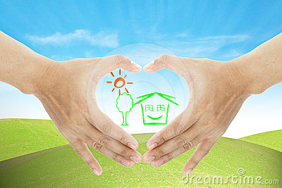 Hand and home business make heart shape