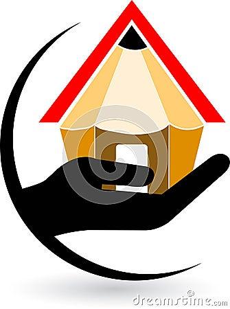 Hand home pencil logo