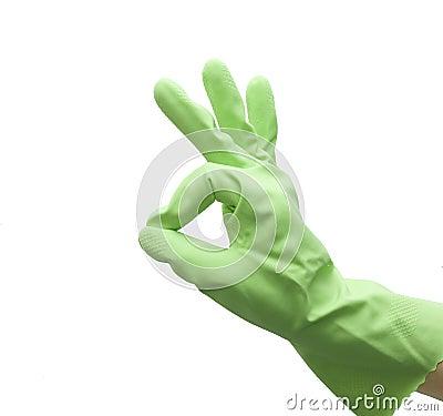 Hand of housewife gesturing OK