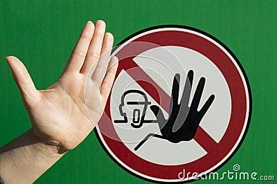 Hand human at a stop signal