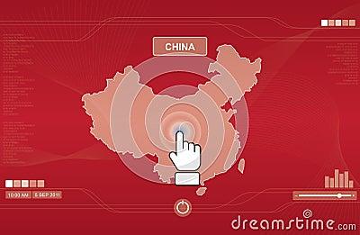 Hand icon pushing china map