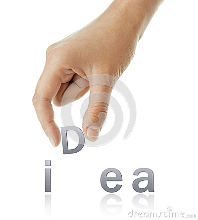 Hand and idea word