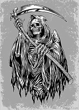 Hand Inked Grim Reaper Illustration Stock Vector Image