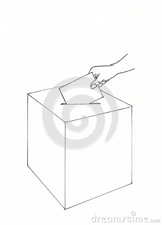 Hand inserting an envelope into a ballot box