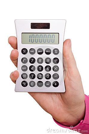 Free Hand Is Holding A Pocket Calculator Stock Image - 29228111