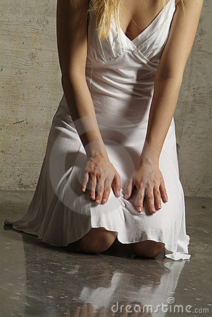 Hand on knees