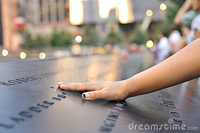 Hand laid on September 11 memorial Editorial Image