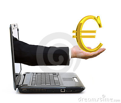 Hand in a laptop with a golden euro symbol
