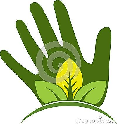 Hand leaf logo