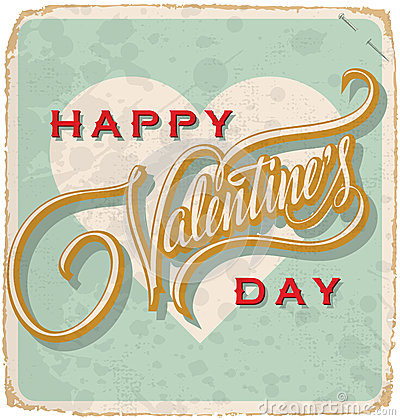 Free Hand-lettered Vintage Valentines Card (vector) Royalty Free Stock Images - 28843299