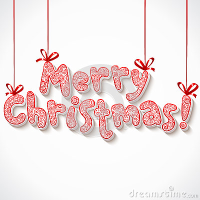 Hand lettering ornate Merry Christmas sign