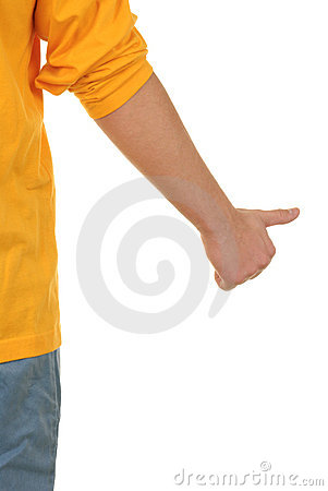 Hand with lifted thumb
