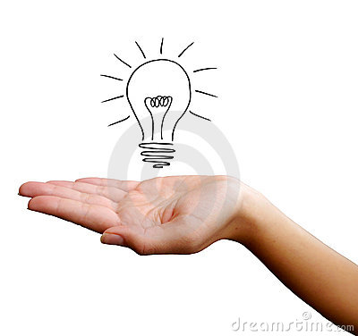 Hand with light bulb