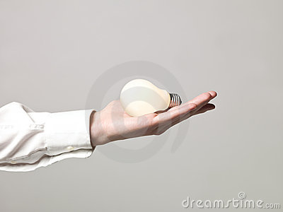 Hand with light-bulb