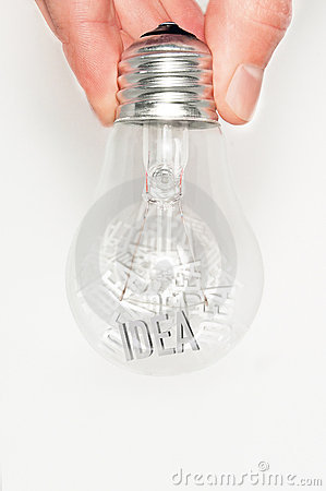 Hand with light bulb full of ideas