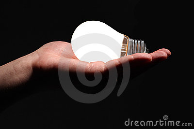 Hand with lightbulb