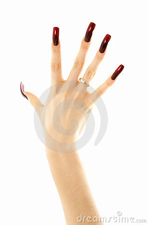Hand with long acrylic nails