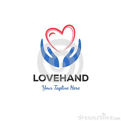 Hand and love logo designs Vector Illustration