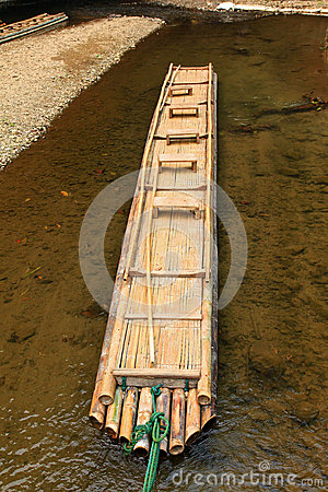 Hand-made bamboo raft