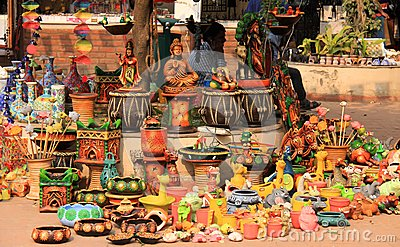 Hand made colorful indian toys and pots made up of Editorial Photography