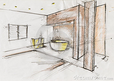 Sketch Illustration For Interior Design Royalty Free Stock