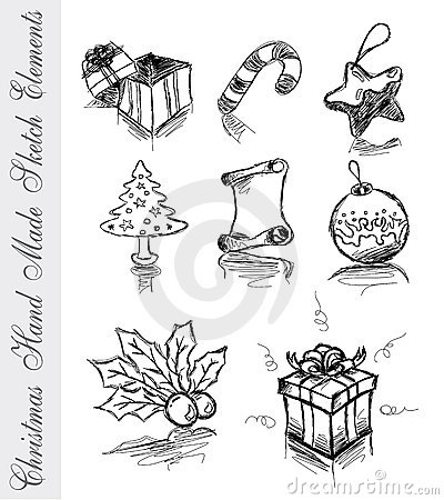 Free Hand Made Sketch Of Christmas Design Elements Royalty Free Stock Images - 10537999