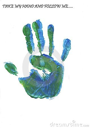colorful hand print made with tempera paints